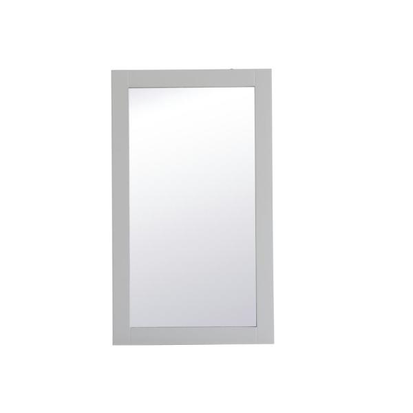 Medium Rectangle Grey Contemporary Mirror (32 in. H x 18 in. W)