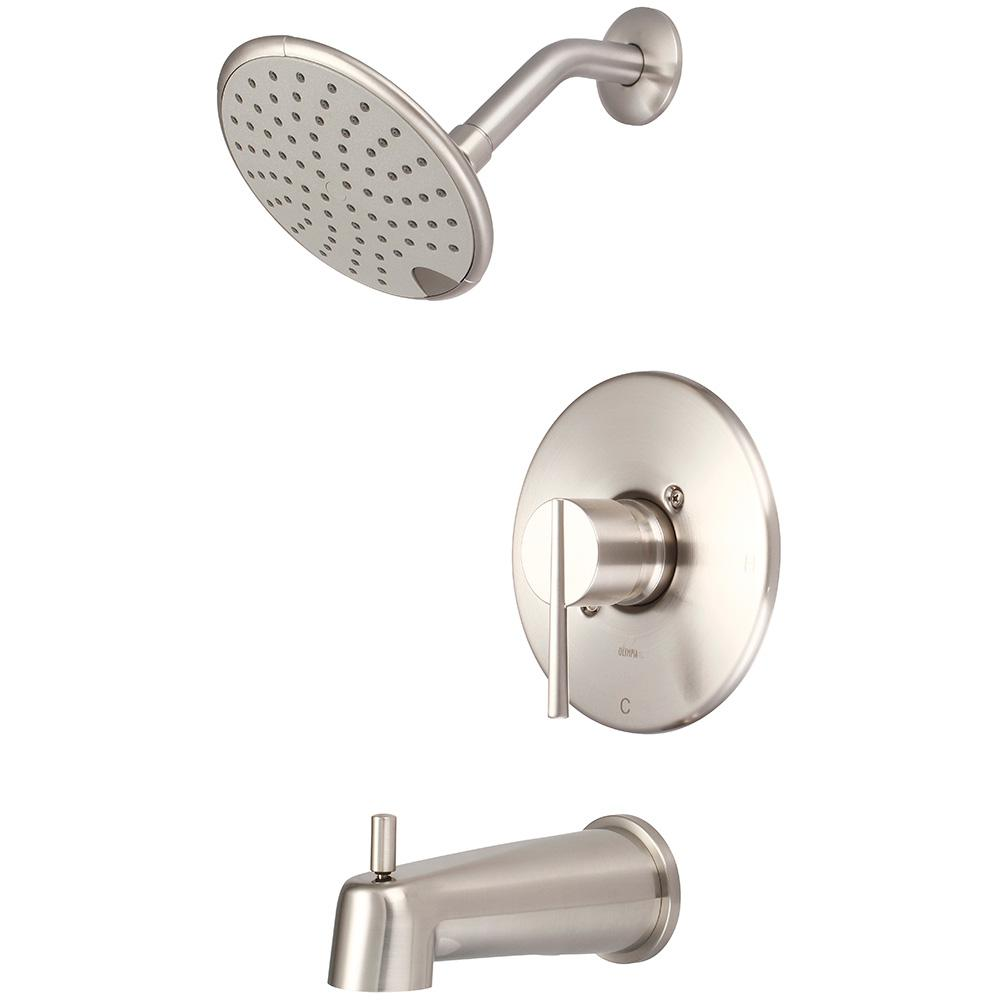 i2v 1-Handle Wall Mount Tub and Shower Trim Kit in Brushed