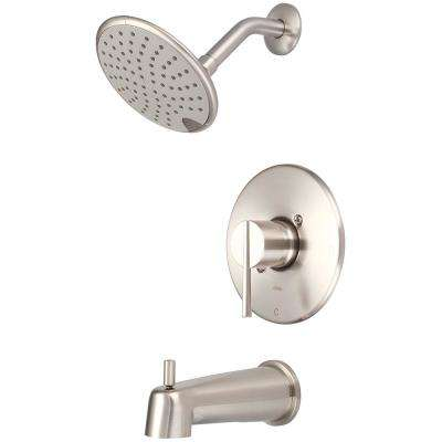 i2v 1-Handle Wall Mount Tub and Shower Trim Kit in Brushed Nickel with Rain Showerhead (Valve Not Included)