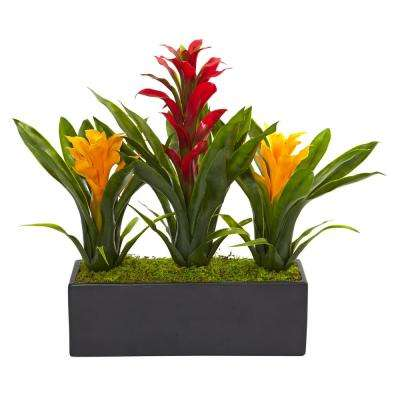 Bromeliad Artificial 11 in. H Flowering Plants in Red Yellow