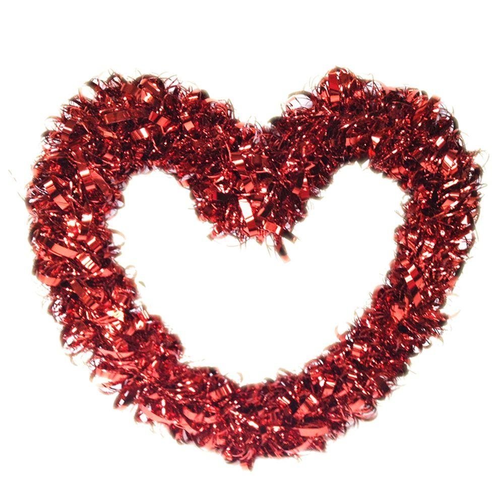 Winlyn 4 Pack Valentines Wreath Decorations Red Tinsel Foil Heart Shaped Wedding Holiday Front Door For Outdoor Day Party Decoration Kitchen Decor Home Accents