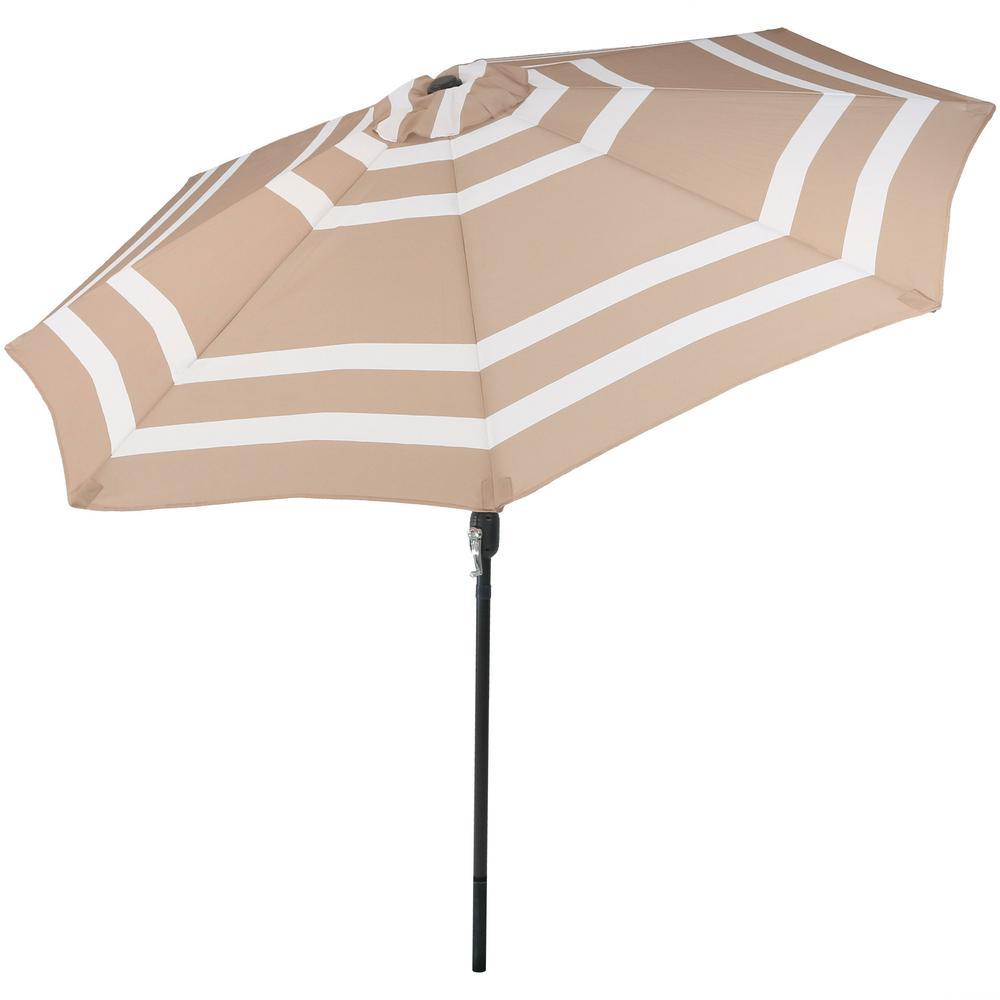9 ft. Aluminum Market Tilt Patio Umbrella in Beige Stripe