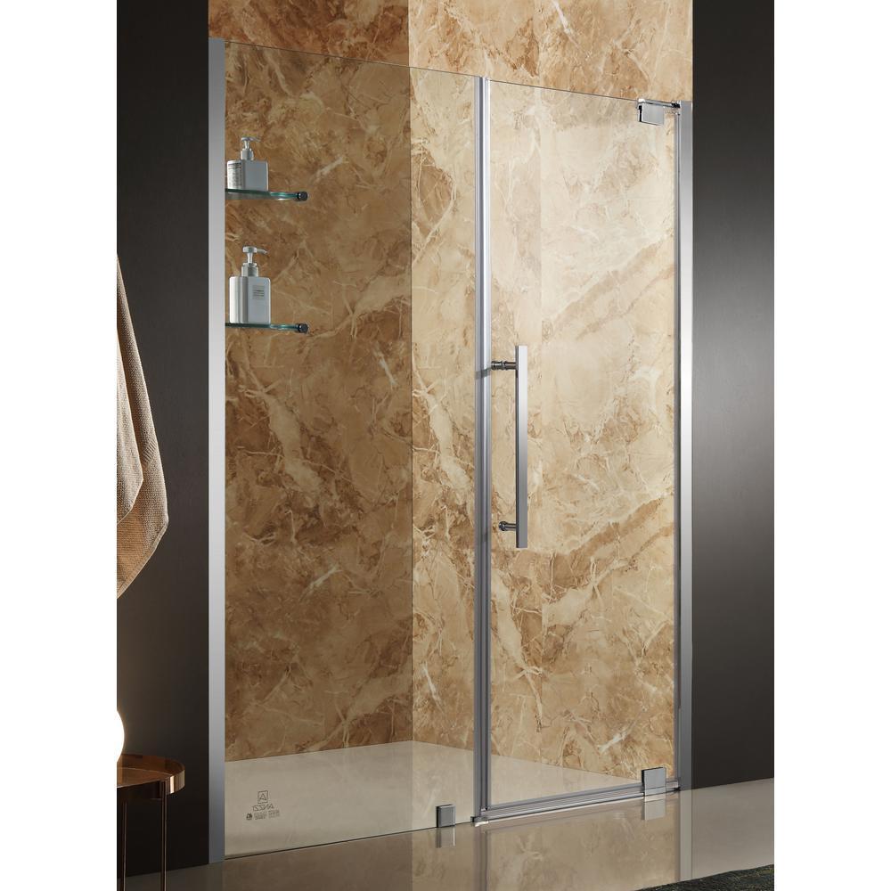 ANZZI Duke 60 in. x 72 in. Semi-Frameless Pivot Shower Door in ...