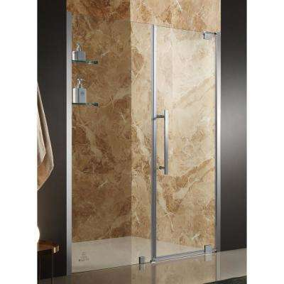 Duke 60 in. x 72 in. Semi-Frameless Pivot Shower Door in Brushed Nickel with Handle