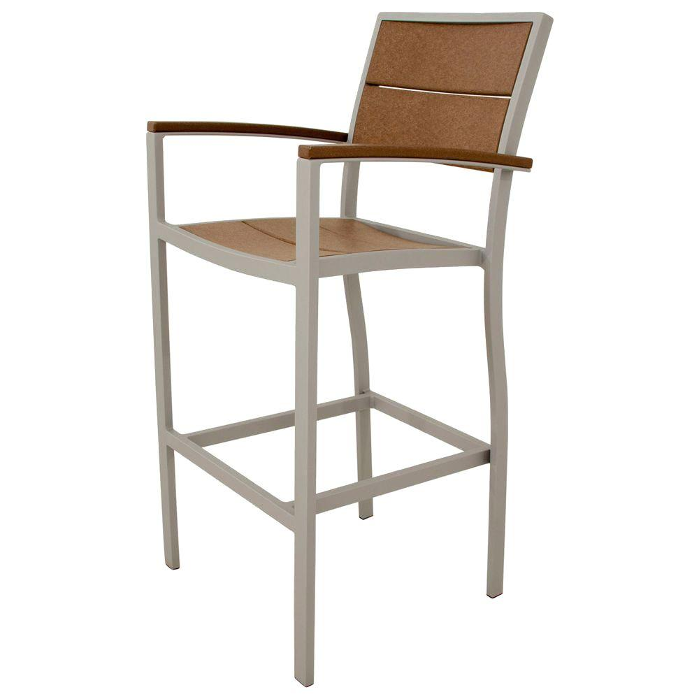 Trex Outdoor Furniture Surf City Textured Silver Patio Bar Arm Chair with Tree House Slats