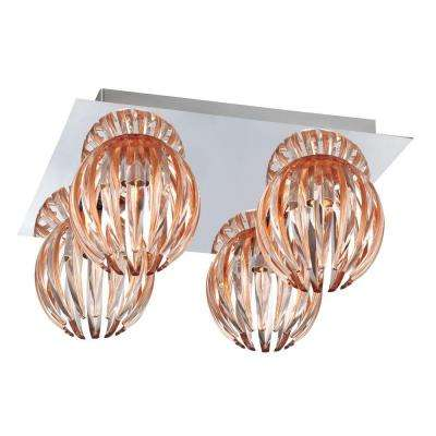 Cosmo Collection 4-Light Chrome and Amber Flush Mount