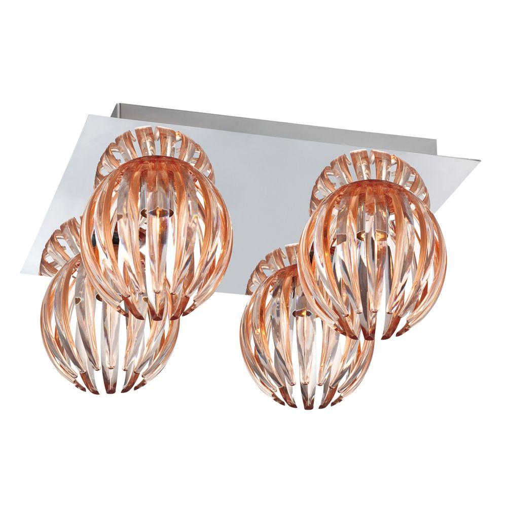 Eurofase Cosmo Collection 4 Light Chrome And Amber Flushmount 23207 011 The Home Depot