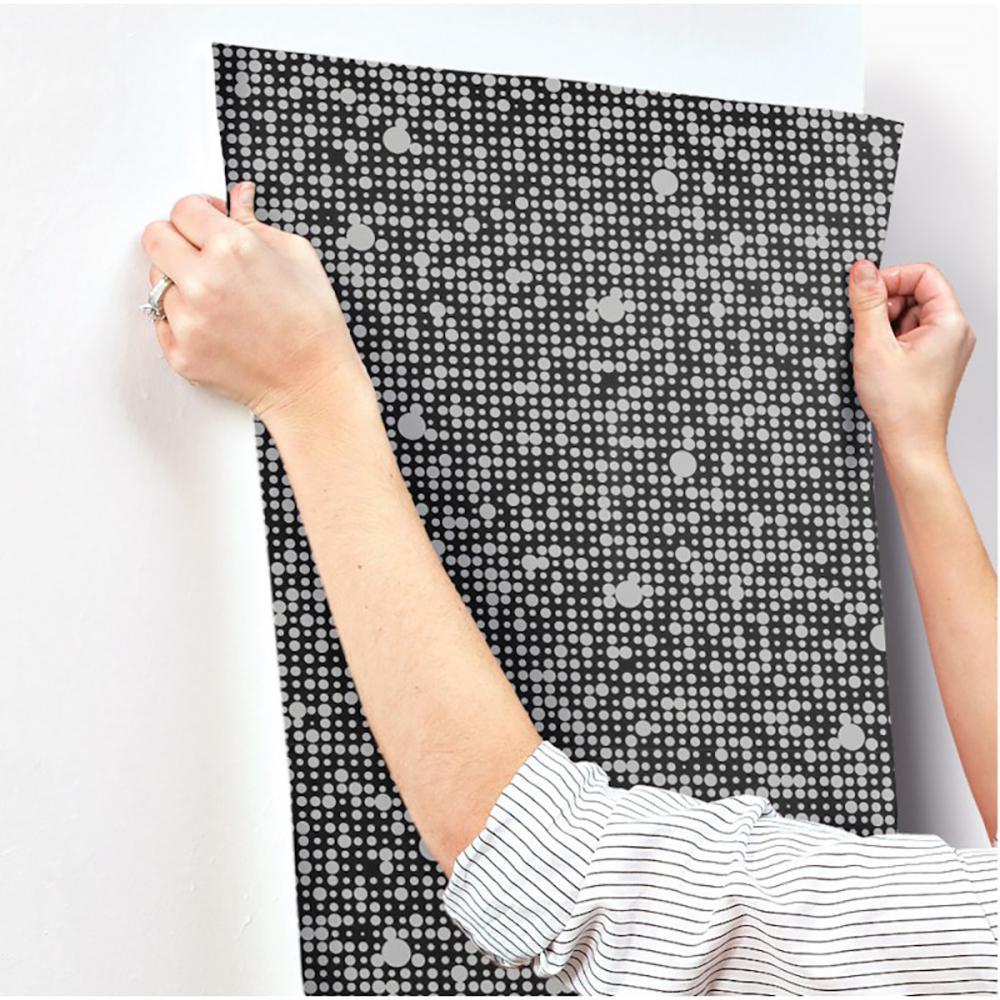 RoomMates 28.18 sq. ft. Black Polka Dot Peel and Stick Wallpaper