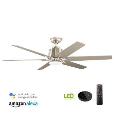 Kensgrove 54 in. Integrated LED Indoor Brushed Nickel Ceiling Fan with Light Kit works with Google Assistant and Alexa
