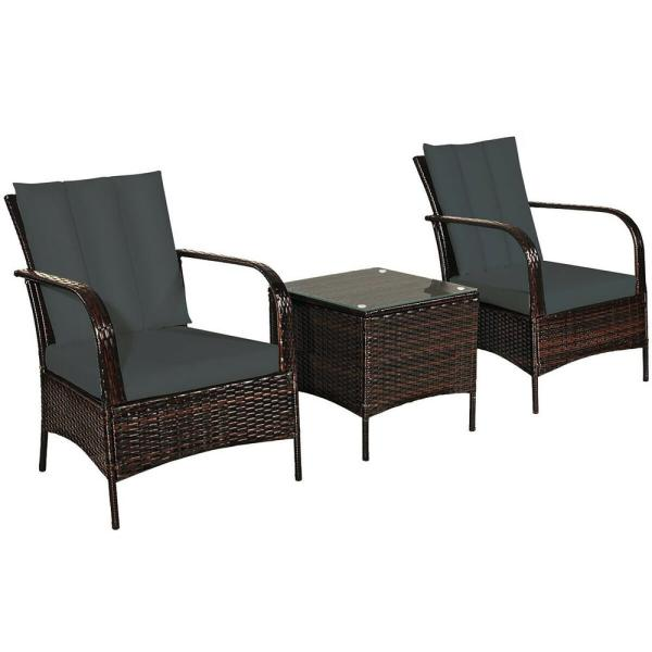 Island 3-Piece Wicker Patio Conversation Set with Gray Cushions