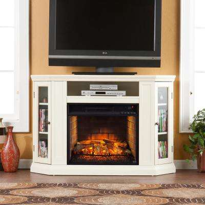 Hudson 48 in. W Convertible Media Infrared Electric Fireplace in Ivory