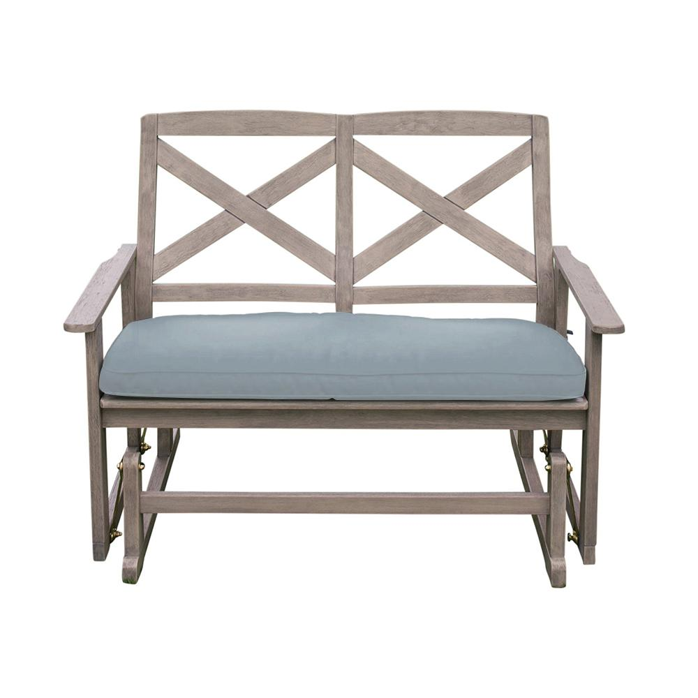 Cambridge Casual Tulle Wood Outdoor Glider Bench with Teal Cushion