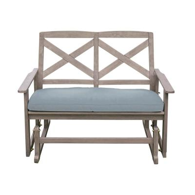 Tulle Wood Outdoor Glider Bench with Teal Cushion
