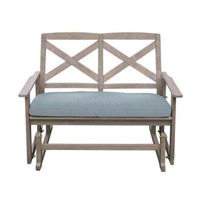 Tulle Wood Outdoor Glider Bench with Blue Cushion