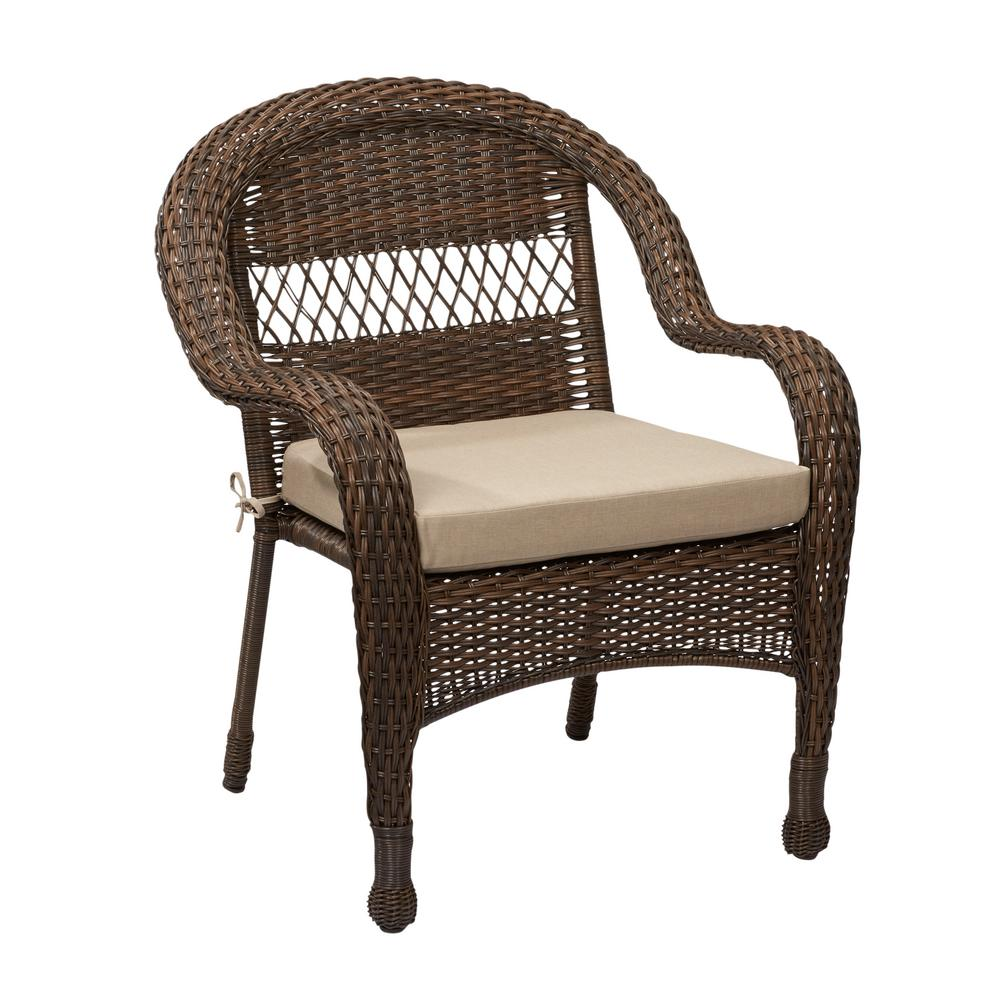 Hampton bay mix and match brown wicker outdoor stack chair with beige cushion