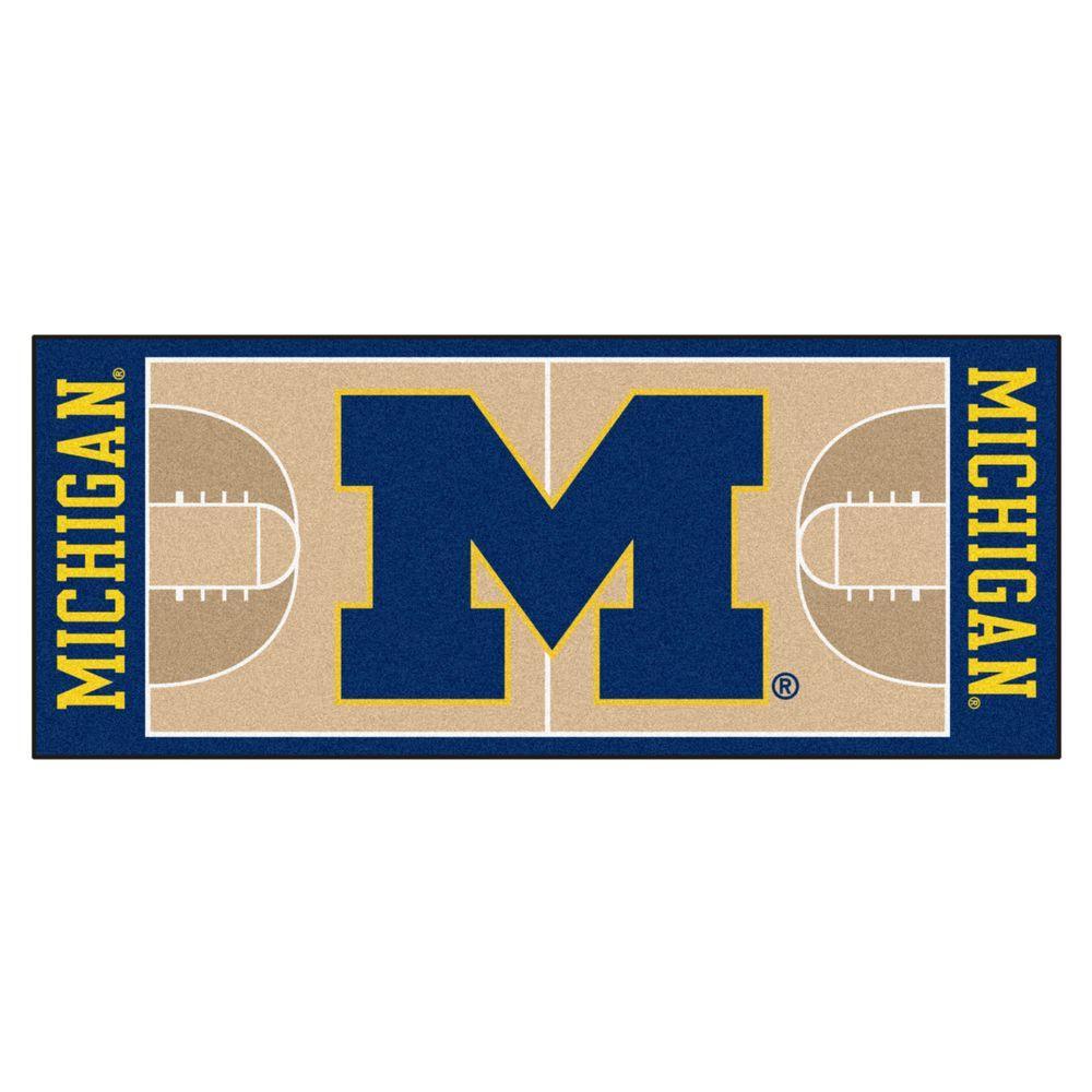 NCAA University of Michigan Cream 3 ft. x 6 ft. Basketball Runner Rug