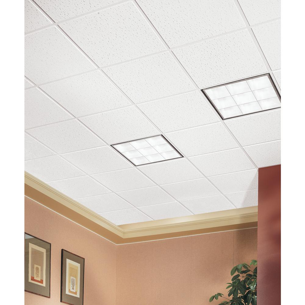 Armstrong Ceilings Fissured 2 Ft X 2 Ft Tegular Ceiling Tile 64 Sq Ft Case 705a The Home Depot