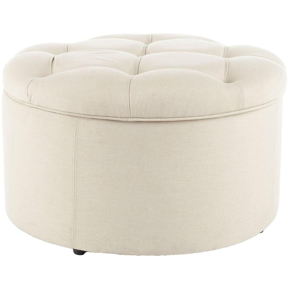 Safavieh Tanisha Off White Storage Ottoman, Off White/Ins...