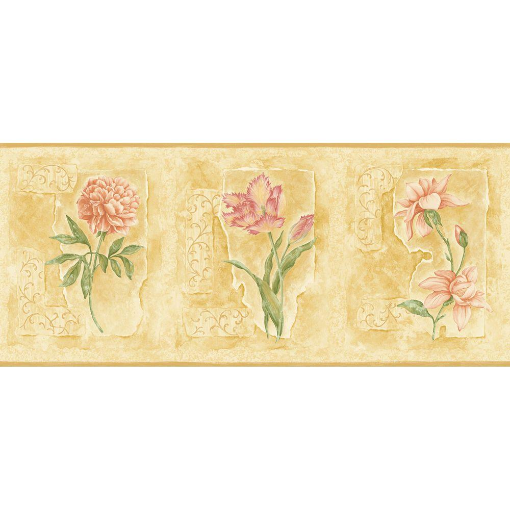The Wallpaper Company 8 in. x 10 in. Bright Asian Floral Border Sample