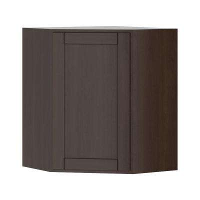 Princeton Shaker Assembled 24x30x24 in. Corner Wall Cabinet in Java