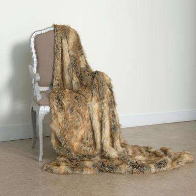 Wild Mannered 58 in. x 84 in. Amber Fox Faux Fur Throw