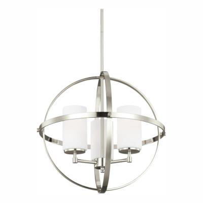 Alturas 3-Light Brushed Nickel Chandelier with LED Bulbs