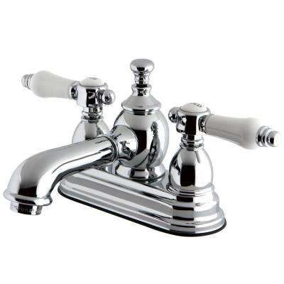 Vintage Porcelain 4 in. Centerset 2-Handle Mid-Arc Bathroom Faucet in Chrome