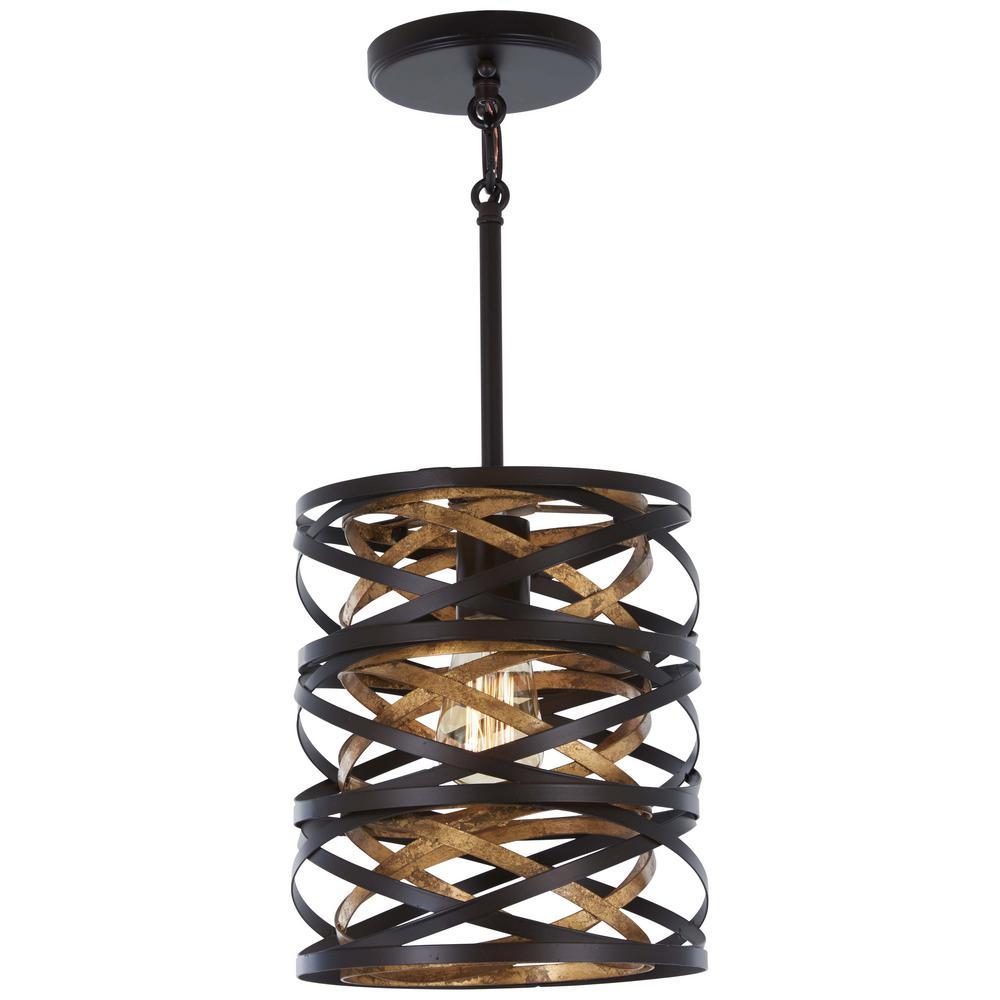 Vortic Flow 1-Light Dark Bronze with Mosaic Gold Interior Mini Pendant