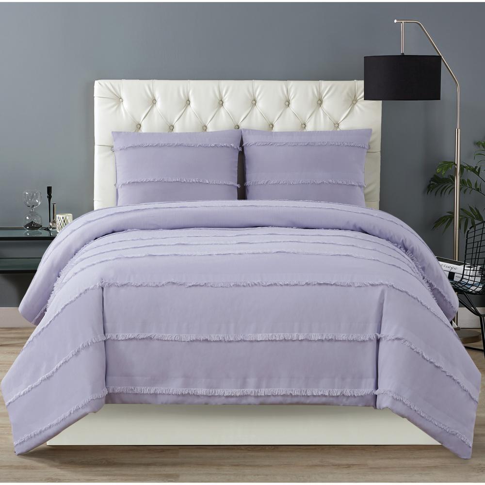 Kristen 3 Piece Full/Queen Duvet Cover Set in Lavender