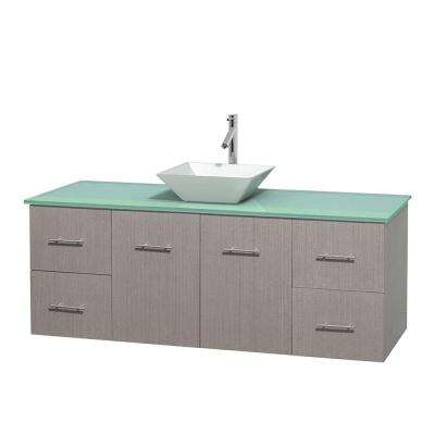 Centra 60 in. Vanity in Gray Oak with Glass Vanity Top in Green and Porcelain Sink