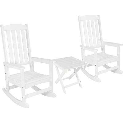 White All Weather Traditional Plastic Patio Rocking Chair ...