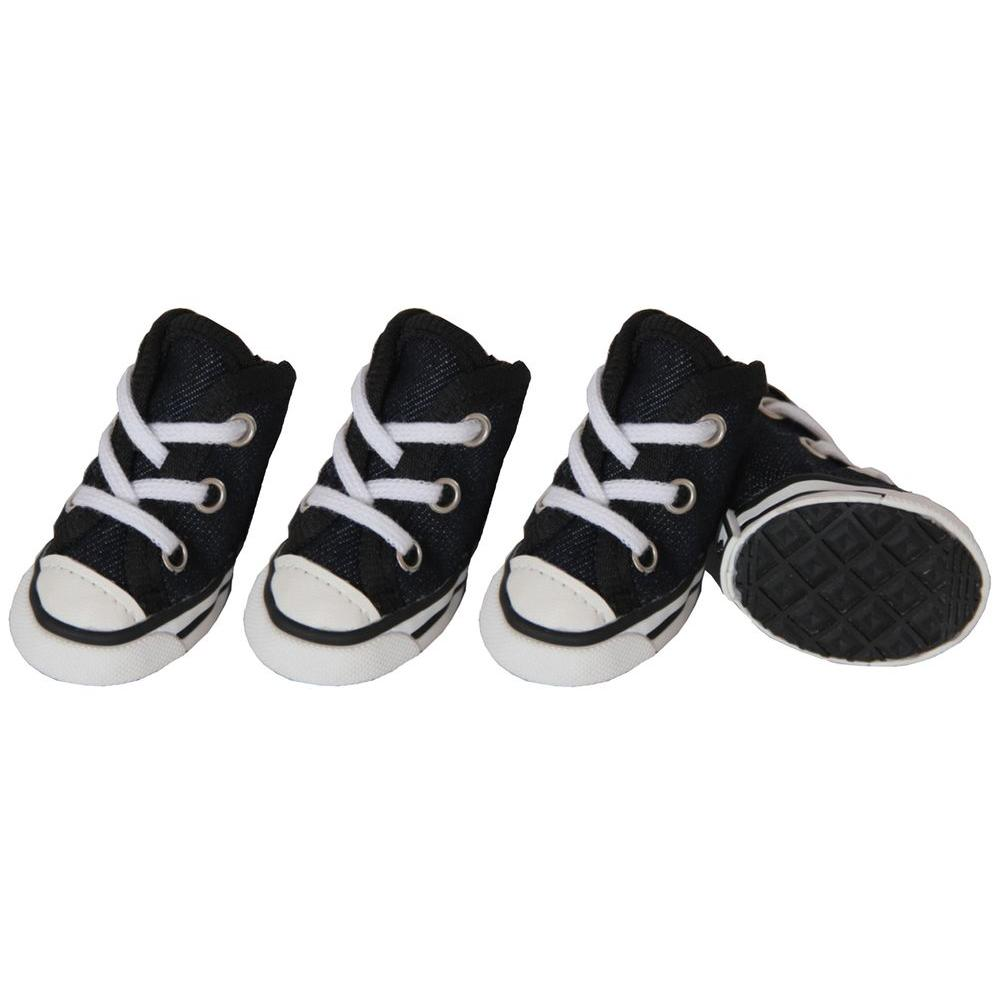 PET LIFE X-Small Black Extreme-Skater Casual Grip Dog Sneaker Shoes (Set of 4)