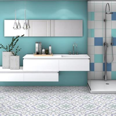 Lacour Aqua Encaustic 9-3/4 in. x 9-3/4 in. Porcelain Floor and Wall Tile (11.11 sq. ft. / case)