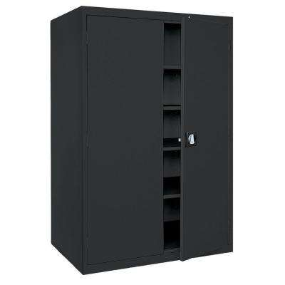 Elite Series 78 in. H x 46 in. W x 24 in. D 5-Shelf Steel Freestanding Storage Cabinet in Black