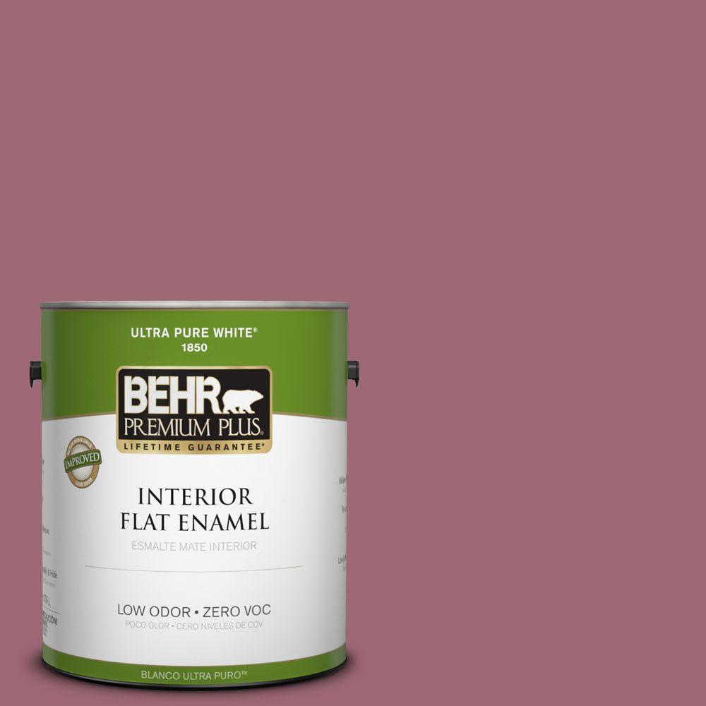 BEHR Premium Plus 1-gal. #100D-5 Berries and Cream Zero VOC Flat Enamel Interior Paint-DISCONTINUED