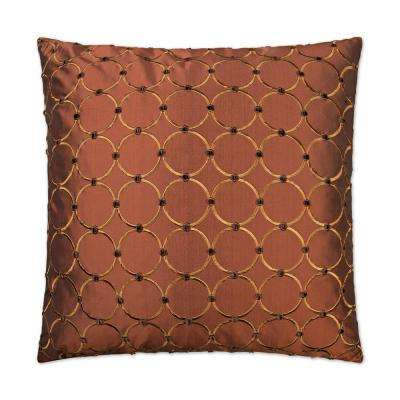 Caprica Sienna Feather Down 24 in. x 24 in. Standard Decorative Throw Pillow