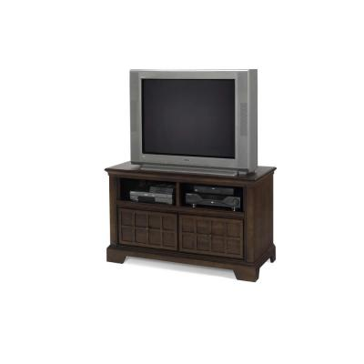 Casual Traditions 20 in. Walnut Wood TV Stand with 2 Drawer Fits TVs Up to 50 in. with Built-In Storage