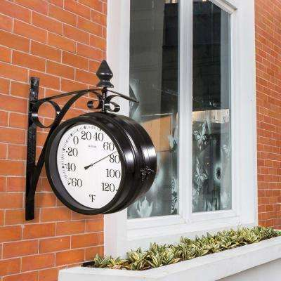Dual Faced 8.85 in. x 8.25 in. Outdoor Station Clock and Thermometer