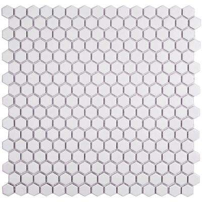 Bliss Hexagon White Matte Ceramic Mosaic Floor and Wall Tile - 3 in. x 6 in. Tile Sample