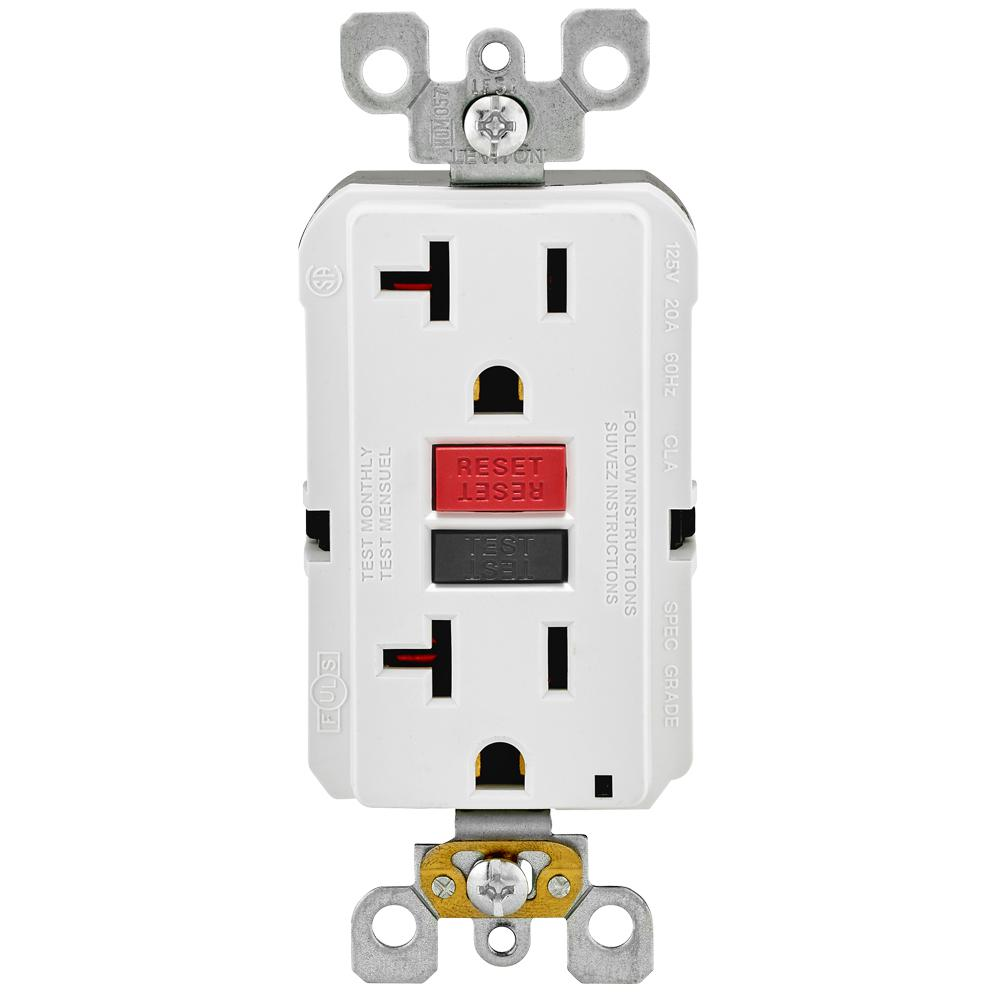 Leviton 20 Amp Self-Test SmartlockPro Slim Duplex GFCI Outlet, White