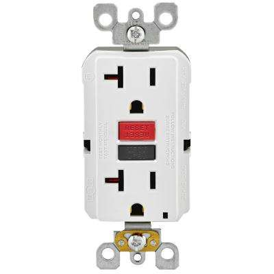 20 Amp Self-Test SmartlockPro Slim Duplex GFCI Outlet, White