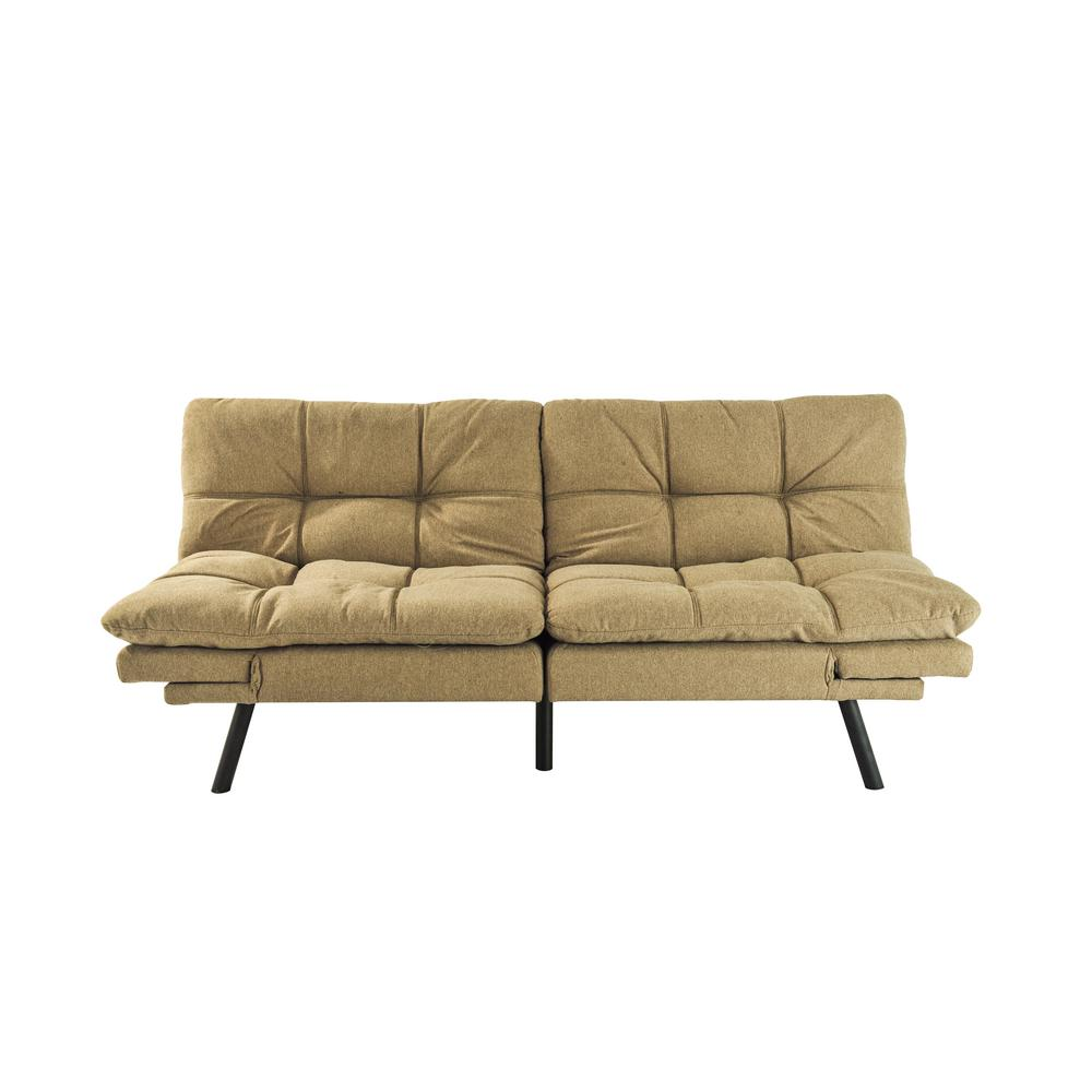 34 in. Blown Cotton 2-Seater Full Sleeper Armless Sofa Bed with Tapered Legs