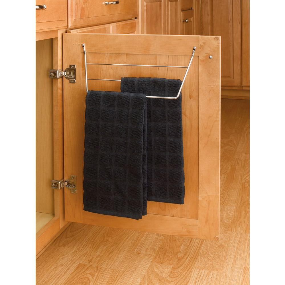 Rev A Shelf 6 5 In H X 12 75 W 3 D Chrome Cabinet Door Mount Towel Holder 563 32 C The Home Depot