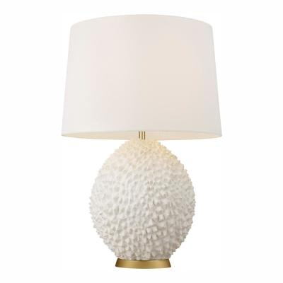 ED Ellen DeGeneres Crafted by Generation Lighting Anhdao 30.375 in. White Table Lamp and Shade with Burnished Brass Base