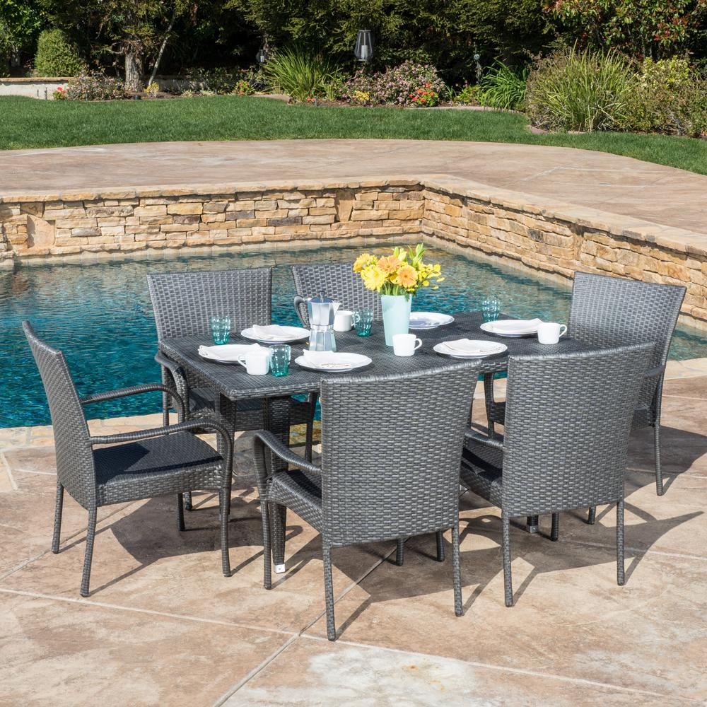 NobleHouse Noble House Delani Gray 7-Piece Wicker Outdoor Dining Set