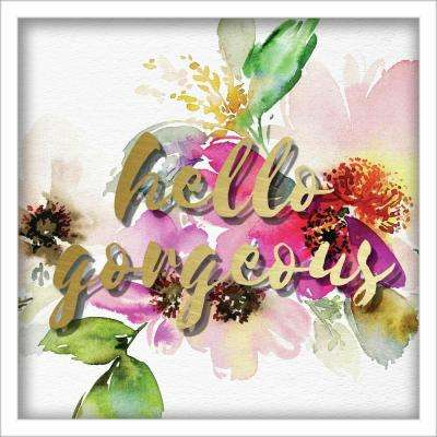 """12 in. x 12 in. """"Hello Gorgeous Watercolor Peonies"""" Shadowbox Wall Art"""