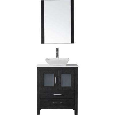 Dior 28 in. W x 18.3 in. D Vanity in Zebra Grey with Stone Vanity Top in White with White Basin and Mirror