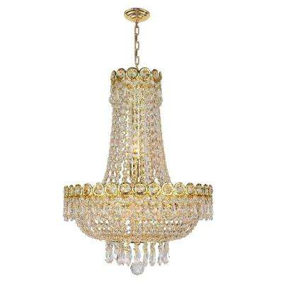 Empire Collection 8-Light Polished Gold and Clear Crystal Chandelier