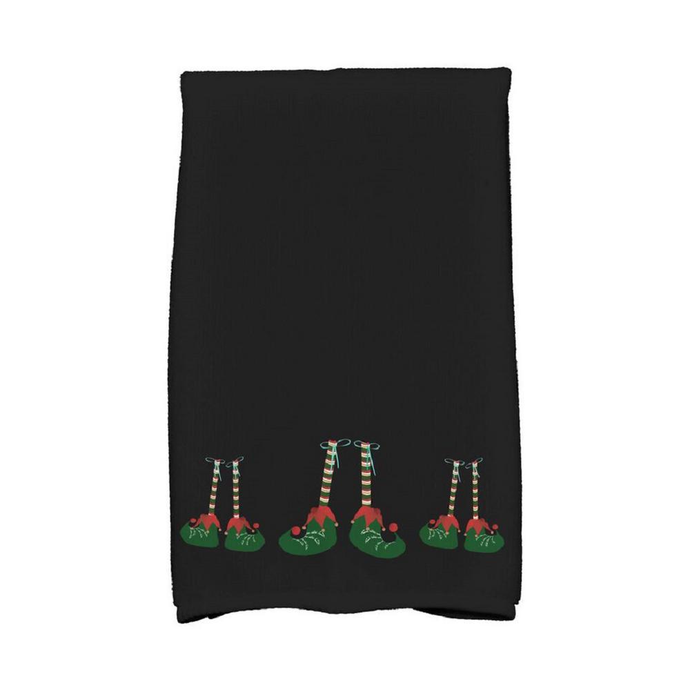 16 in. x 25 in. Black Elfin Magic Holiday Geometric Print Kitchen Towel