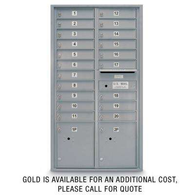 20-Door Standard 4C Mailbox with (2) Parcel Lockers (Silver)